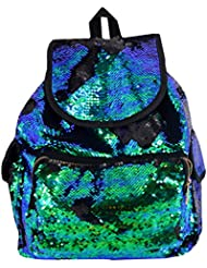 Orfila Fashion Sequin Backpack Glitter Travel Shoulder Bag Casual Daypack Drawstring School Bag