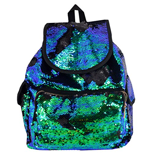 Orfila Fashion Sequin Backpack Glitter Travel Shoulder Bag Casual Daypack Drawstring School Bag