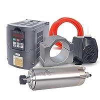 VFD CNC Spindle Motor Kits:110V 2.2KW VFD+110V 2.2KW 4 bearings Water Cooled Spindle Motor+110V 75W Water Pump+80mm Motor Clamp Mount+5m Water Pipe (110V-2.2KW VFD 2.2kw 4 bearings motor)