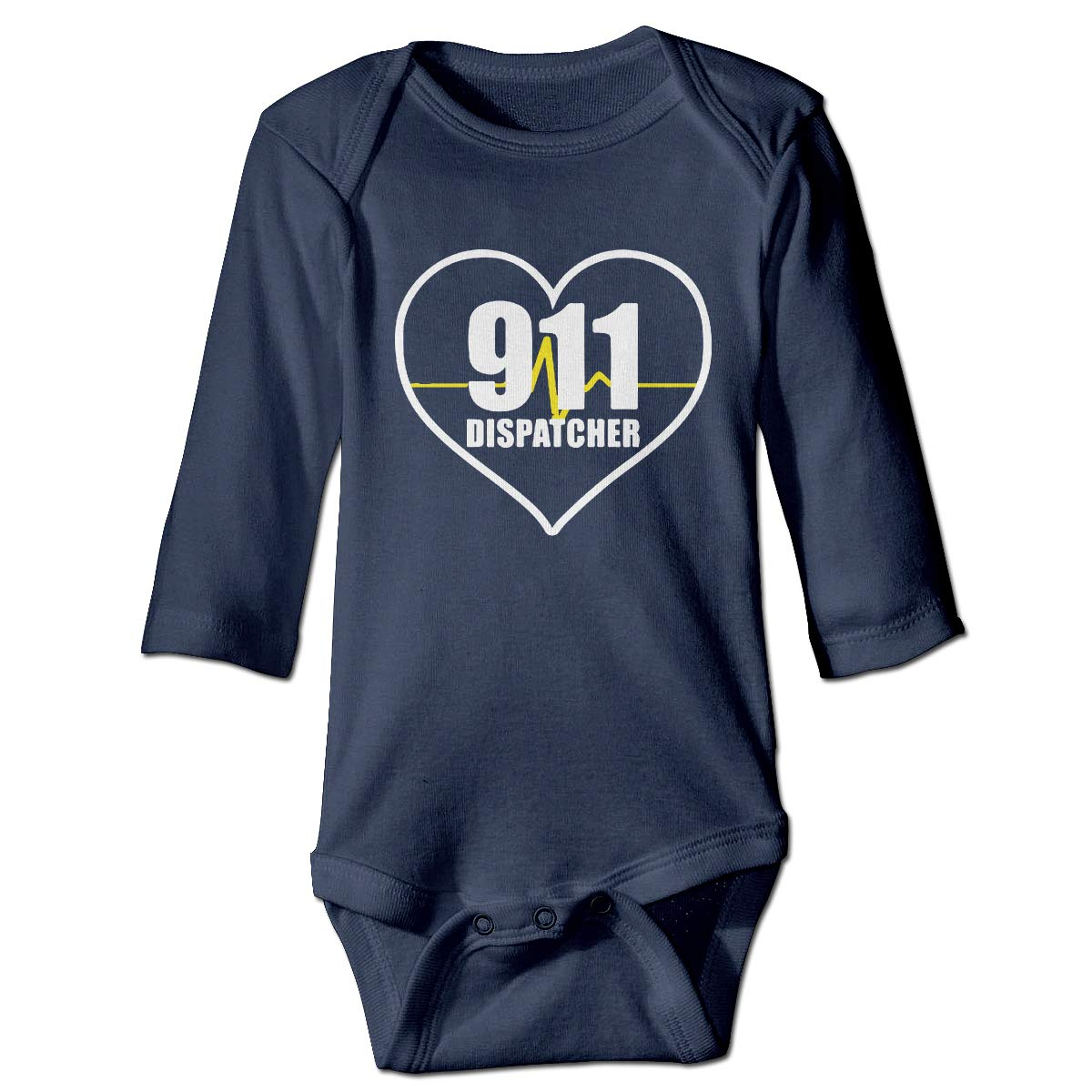 A14UBP Infant Baby Girls Long Sleeve Baby Clothes 911 Dispatcher Heart Thin Gold Line Unisex Button Playsuit Outfit Clothes