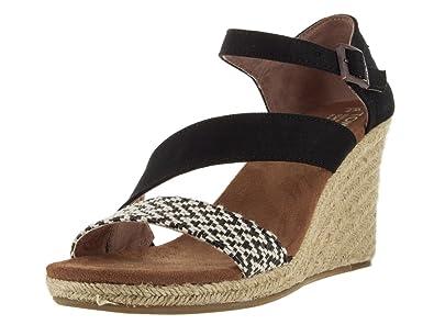 5bca7a856a80 TOMS Women s Clarissa Wedge Black White Woven Rope Sandal 6.5 B ...