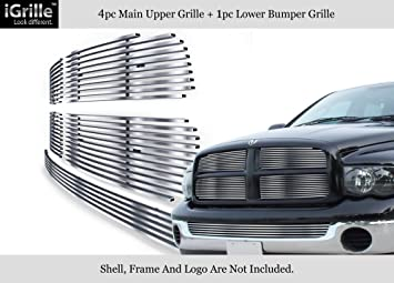 APS Compatible with 02-05 Dodge Ram Stainless Steel Main Upper Billet Grille Insert N19-C47358D
