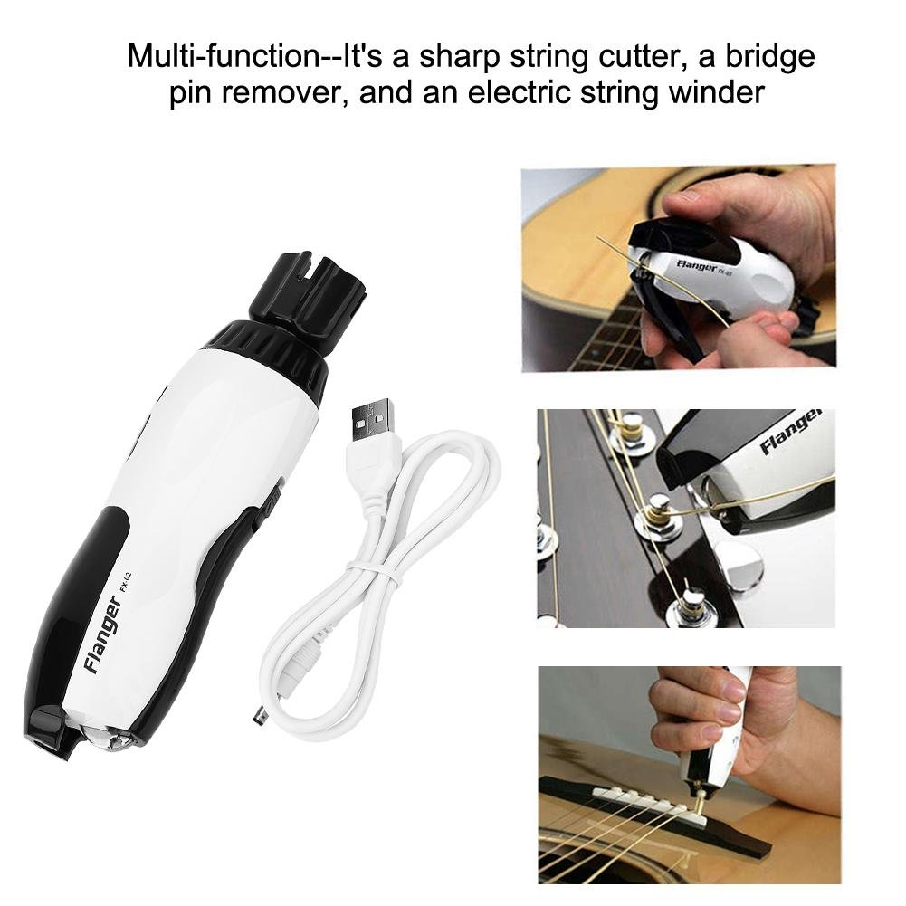 3 in 1 Guitar String Winder and Cutter Multifunctional String Cutter Bridge Pin Puller USB Rechargeable Guitar Tool for Guitars, Bass, Ukelele
