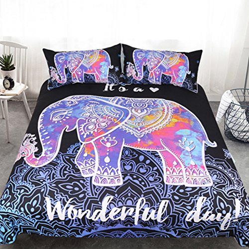 Sleepwish Colorful Elephant Bedding Floral Boho Neon Henna Elephant Duvet Cover Black Lavender Mandala Bed Set (Queen)