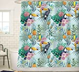 Sunlit Designer Summer Exotic Painting Shower Curtain with Toucan and Tropical Flowers Hibiscus and Orchids Floral Hawaii Natural Green Palm Leaves Pineapple Parrot Jungle Wild Birds -Green Blue