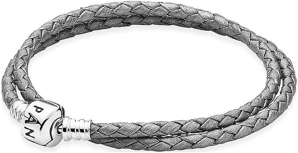 Pandora Double Bracelet en cuir gris argenté 590705 CSG de d