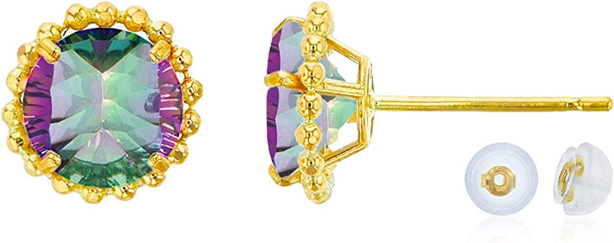 10K Yellow Gold 6mm Round Gemstone Stud Earring with Silicone Back Decadence