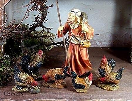 Krippentiere für Weihnachtskrippe aus Polyresin Hühner 5-tlg Größe bis 4,7 cm