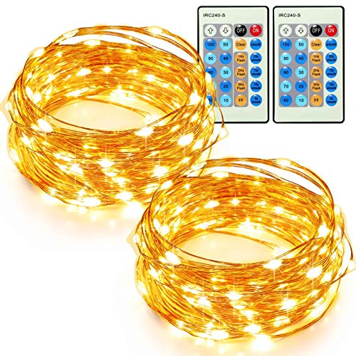 TaoTronics 33ft 100 LED String Lights Plug In 2 Pack Dimmable with Remote Control, Waterproof Decorative Lights for Bedroom, Patio, Garden, Gate, Yard, Parties, Wedding(Copper Wire Lights, Warm -
