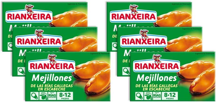 Rianxeira, Conserva de mejillones en escabeche 8-12 piezas - 6 ...