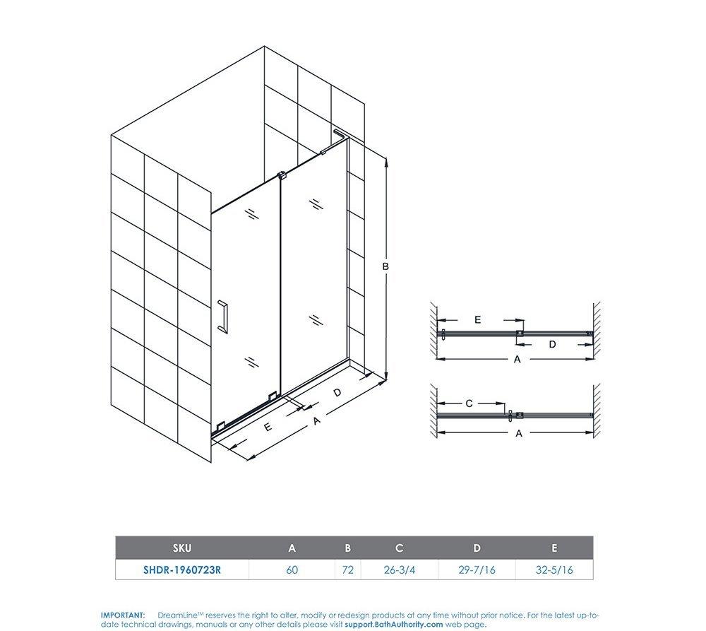 DreamLine Mirage-X 56-60 in. Width, Frameless Sliding Shower Door, 3/8'' Glass, Brushed Nickel Finish by DreamLine (Image #11)