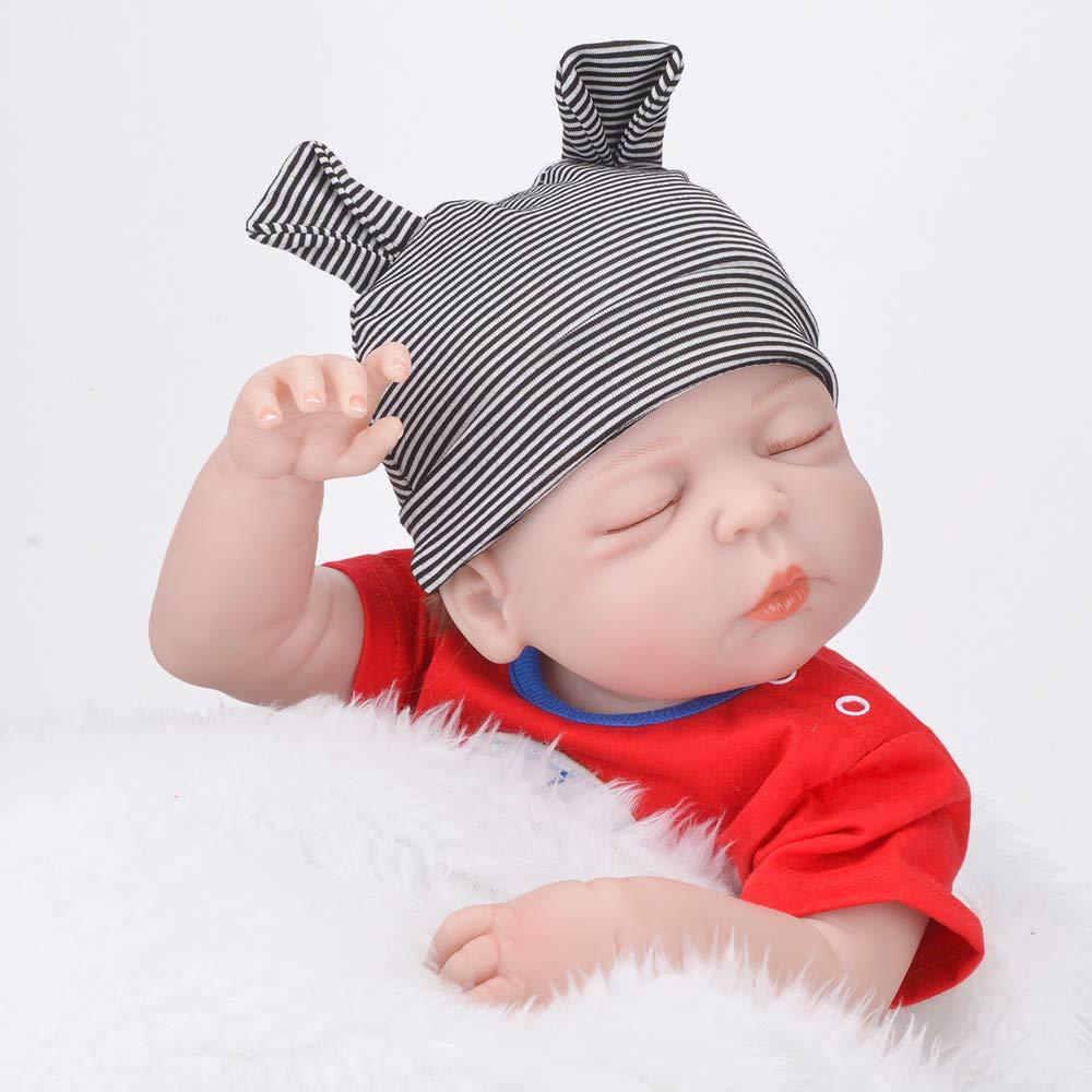 Sleeping Baby with 2 Sets Clothes UCanaan Reborn Baby Dolls 22 Soft Cloth Body Handmade Realistic Lifelike Newborn Silicone Baby Doll