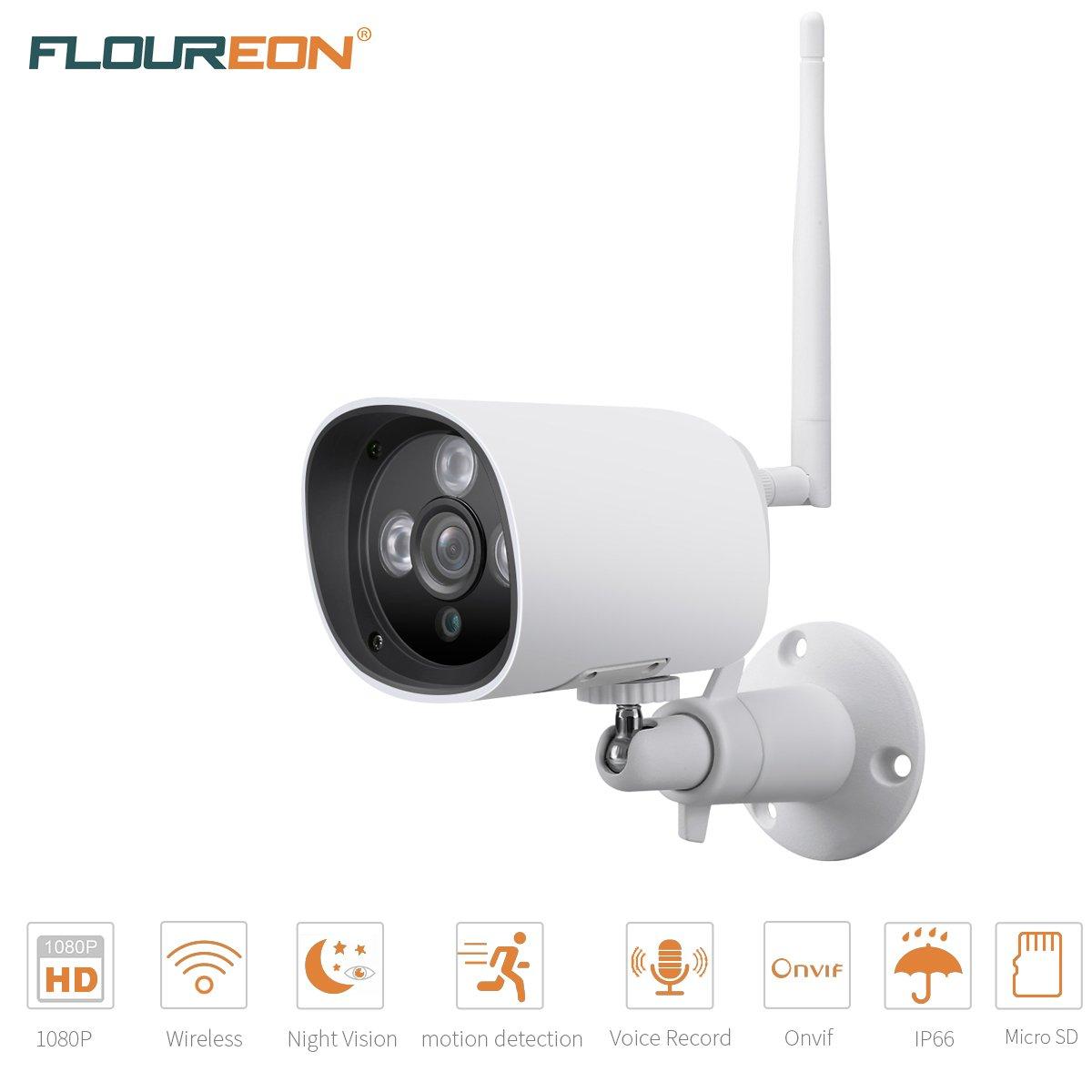 FLOUREON Caméra de Sécurité Caméra IP WiFi Extérieur 1080 P 2.0MP, Caméra de Surveillance Etanche HD sans Fil H.264, CCTV Sécurité Vision Nocturne IP66 Intégré Mic IR-Cut, Support Carte SD