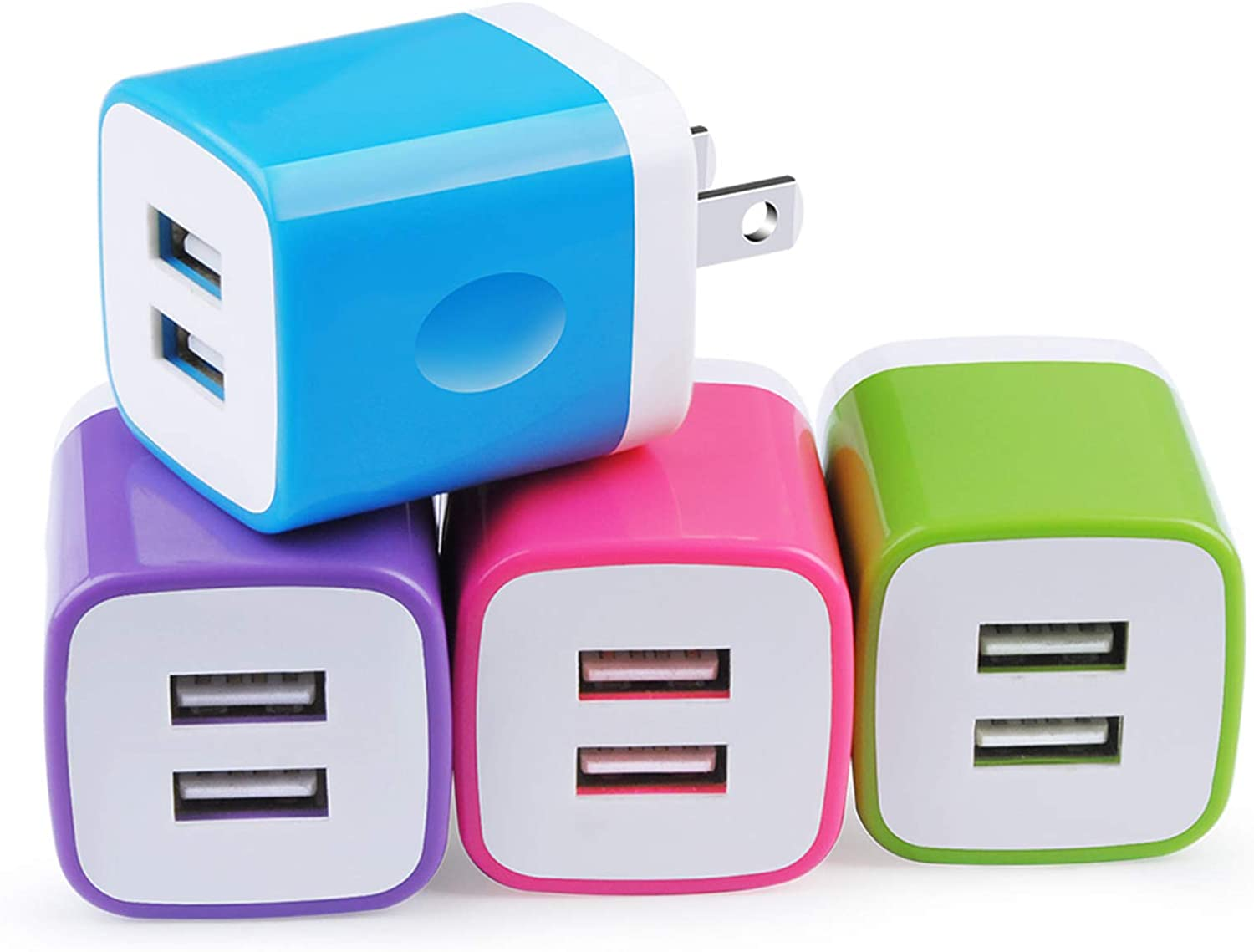 Charging Block Brick, USB Plug, NonoUV 4Pack Dual Port USB Wall Charger Travel Adapter Box Compatible with iPhone 11 Pro Max XR XS X 8 7 6 6S Plus, iPad, Samsung Galaxy S20 S10 S9 S8 Note 10 9 8 A50