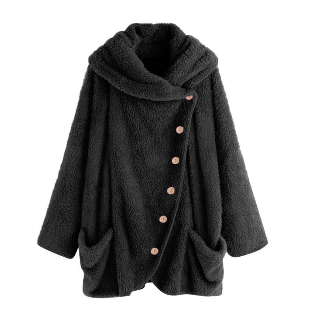 COPPEN Womens Coat Side Button Fluffy Tail Tops Hooded Loose Warm Pullover Sweater
