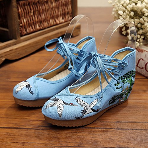 YIBLBOX Women's Traditional Strap Cloth Shoes Pine Crane Embroidery Strappy Platform Wedges Shoes Blue FxXKAxEP