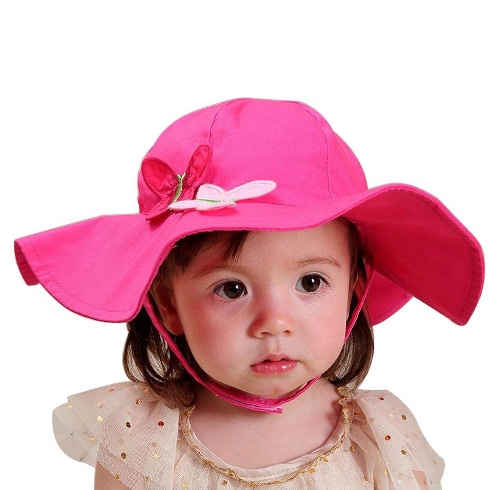 Ding-dong Bébé Enfant Fille Eté Papillons Chapeau de Soleil Rosé