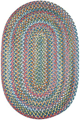 Super Area Rugs Gemstone Textured Braided Rug Indoor Outdoor Rug Durable Blue Kitchen Carpet, 2 X 3 Oval