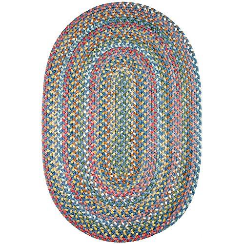 Super Area Rugs Gemstone Textured Braided Rug Indoor/Outdoor Rug Durable Blue Kitchen Carpet, 3' X 5' Oval