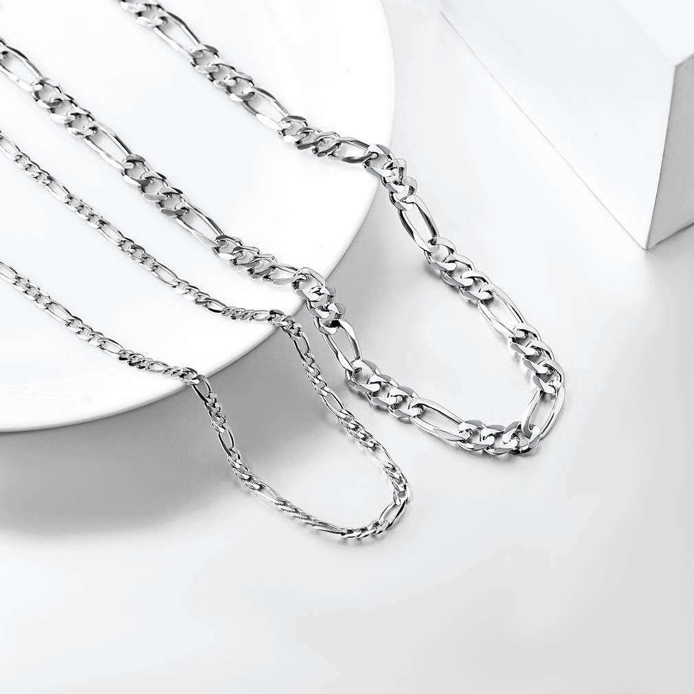 PROSILVER Femme Homme Collier Cha/îne Figaro en Argent 925 Plaqu/é Or Blanc 2.9mm//5mm Longueur 36+5cm//46cm//51cm//55cm//61cm//66cm//71cm Bijoux Cadeau Parfait