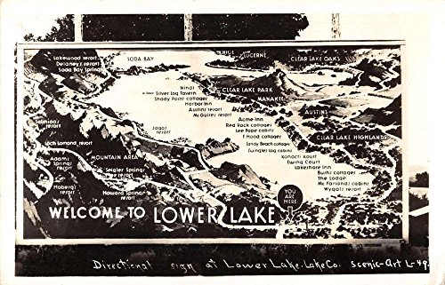 - Lower Lake California directional sign map of area real photo pc Z26927