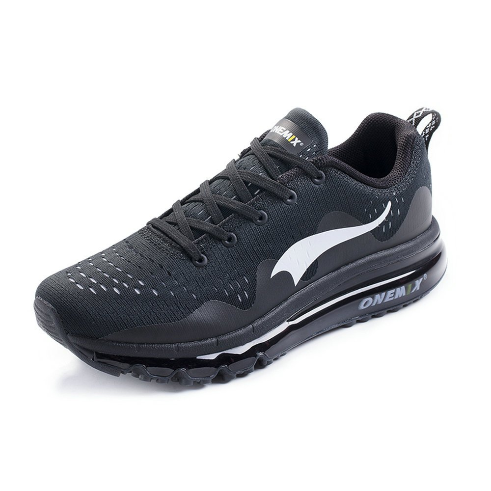 ONEMIX Air Cushion Sports Running Shoes for Men and Women New Wave Casual Walking Sneakers Black US 9.5 by ONEMIX (Image #2)
