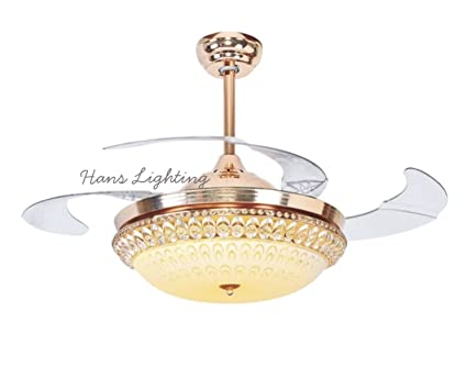 Hans lighting designer luxury chandelier with ceiling fan with remote led fan function 3 light options