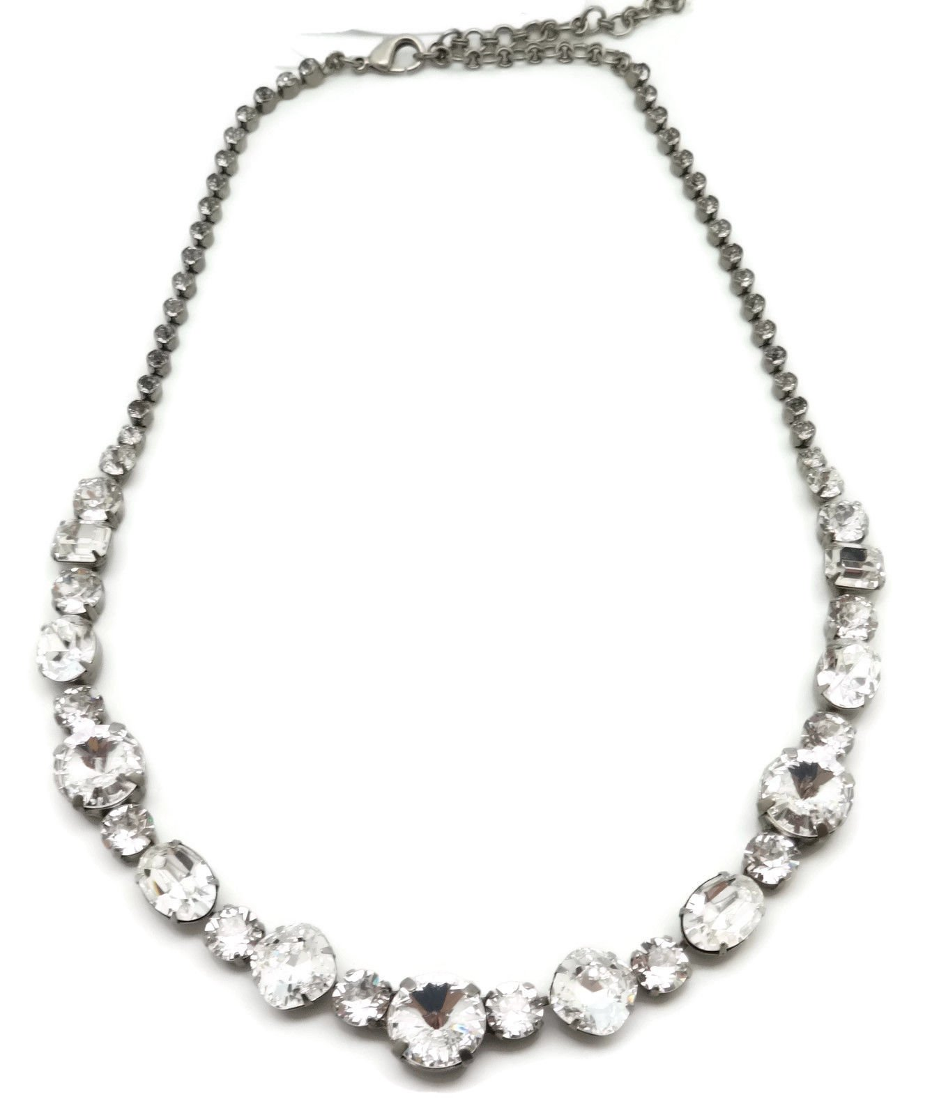 Sorrelli Round Cushion & Oval Cut Clear Crystal Collection Silvertone Necklace