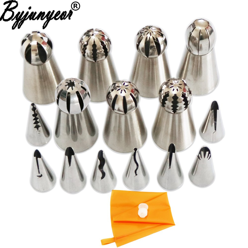 Star-Trade-Inc - 17Pcs Russian+Korean Pastry Nozzles Icing Piping Tips Tulip Nozzles Piping Set Stainless Steel Baking Decorating Tools CS010