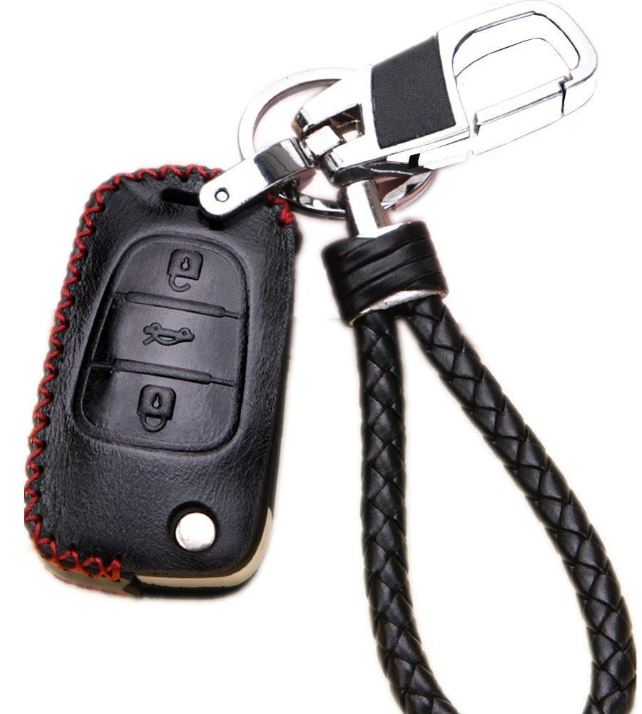 革キーFobケースカバーシェルfor Kia Sportage Optima Rio Soul k5 K2 Hyundai 30 i35フリップリモート車キーホルダー保護バッグスキンwith Braidedキーチェーンキーリングオートアクセサリーギフト S ブラック B07BBQB7XX ブラック ブラック