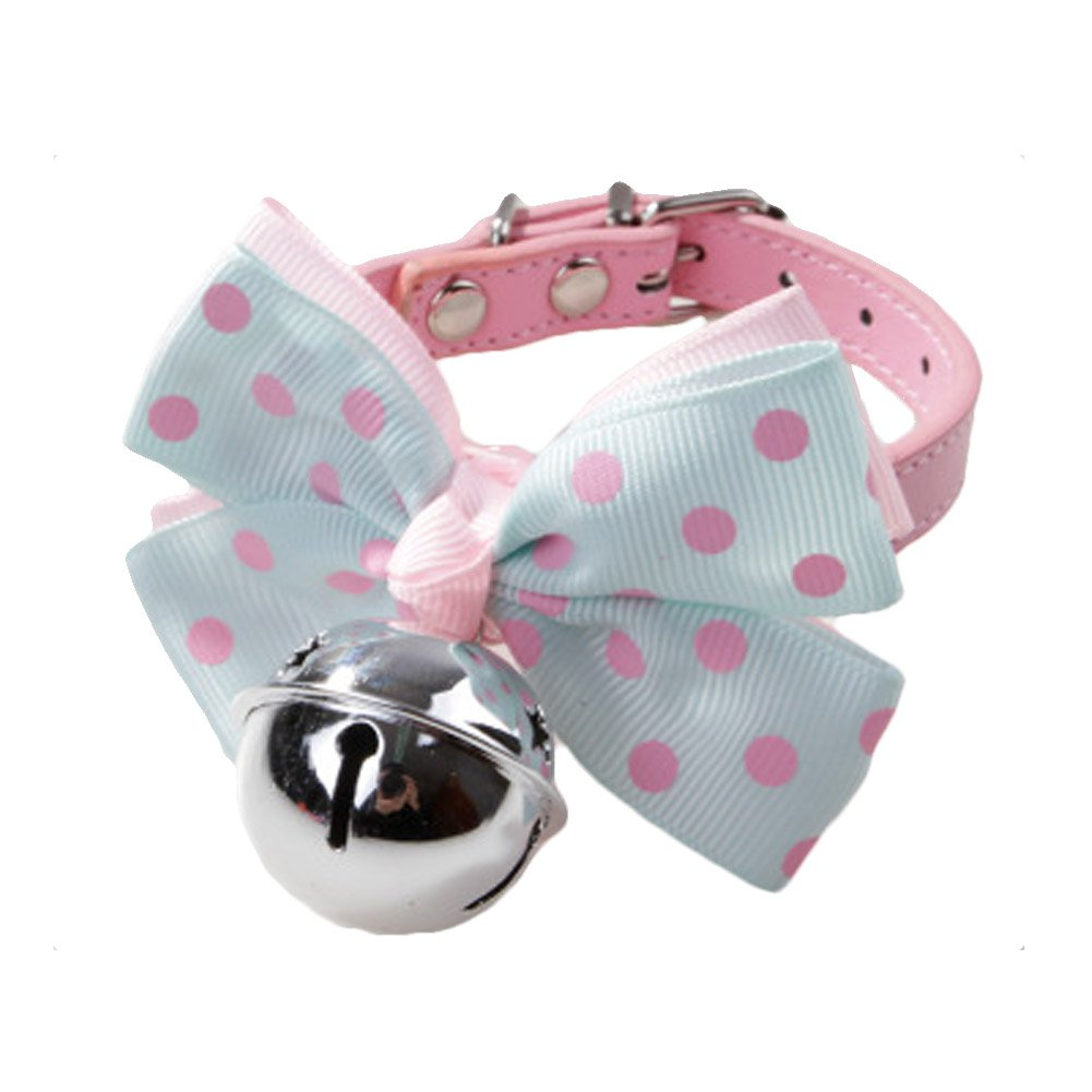 BUYITNOW Pet PU Leather Collar Bowtie with Bell Bowknot for Small Dogs Cats, Adjustable Buckle