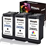 3 Pack Remanufactured Ink Cartridge Replacement for Canon PG 245XL 246XL (2 Black 1 Tri-Color) 245 XL with Ink Level…