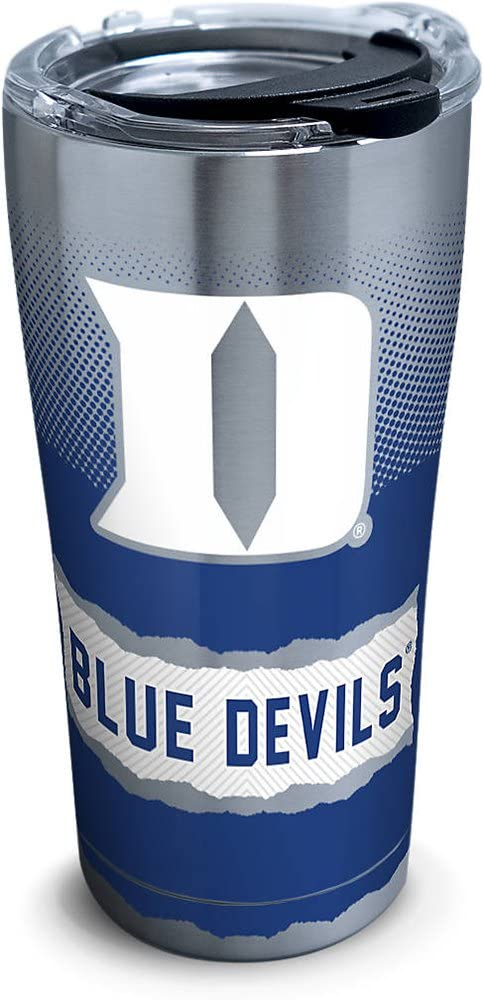 Tervis Duke Blue Devils Knockout Stainless Steel Tumbler with Clear and Black Hammer Lid 20oz, Silver