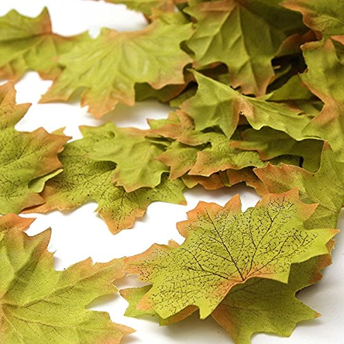 - Biowow Silk Artificial Leaves Green Fall Autumn Maple Leaf for Wedding Garden Decorations 200 Pcs