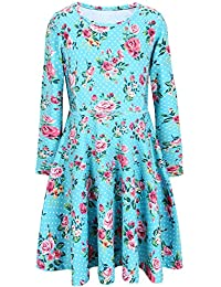 Girls Long Sleeve Desss Kid Cat Unicorn Floral Print Outfits