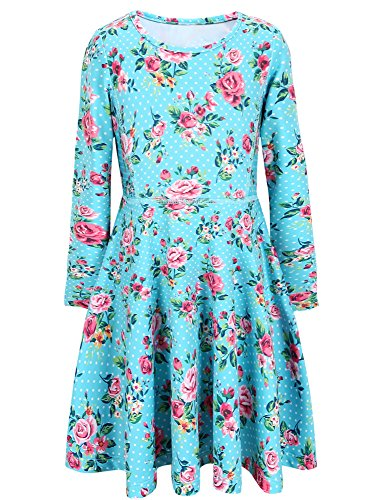 Jxstar Girls Dress Flowers Print Dress Long Sleeve tshirt Dress Angel Blue 150 Angel Blue Fall 10-11Years Height 57in