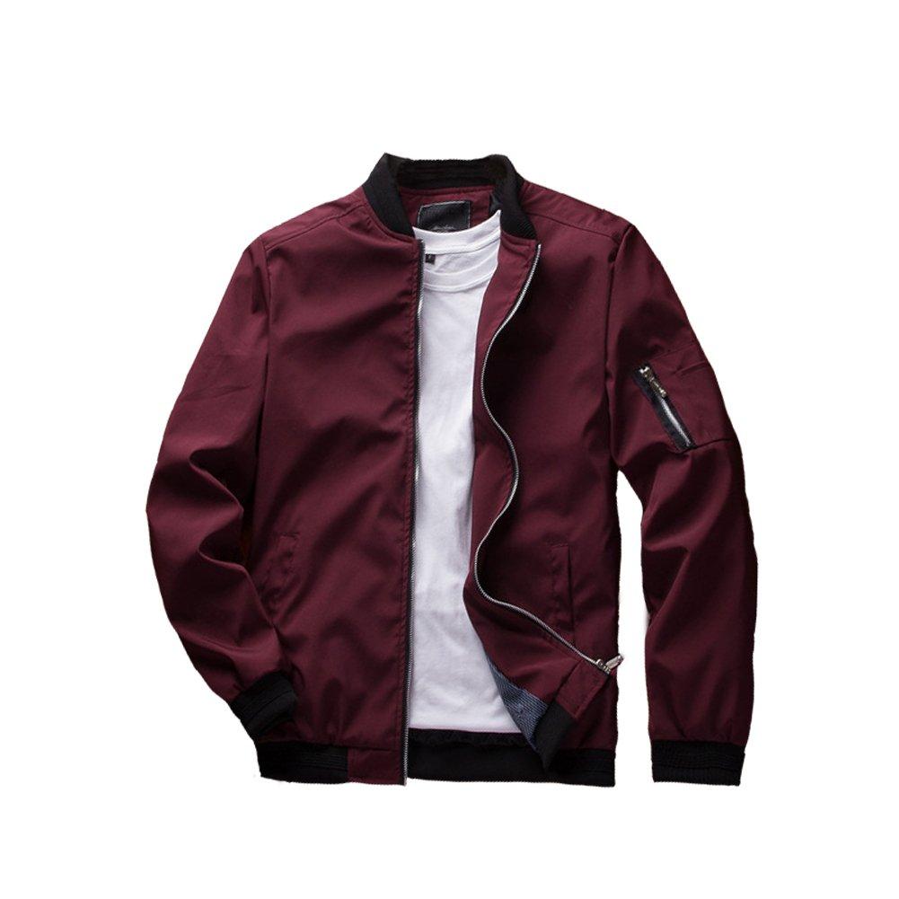 URBANFIND Men's Slim Fit Lightweight Sportswear Jacket Casual Bomber Jacket US L Red by URBANFIND