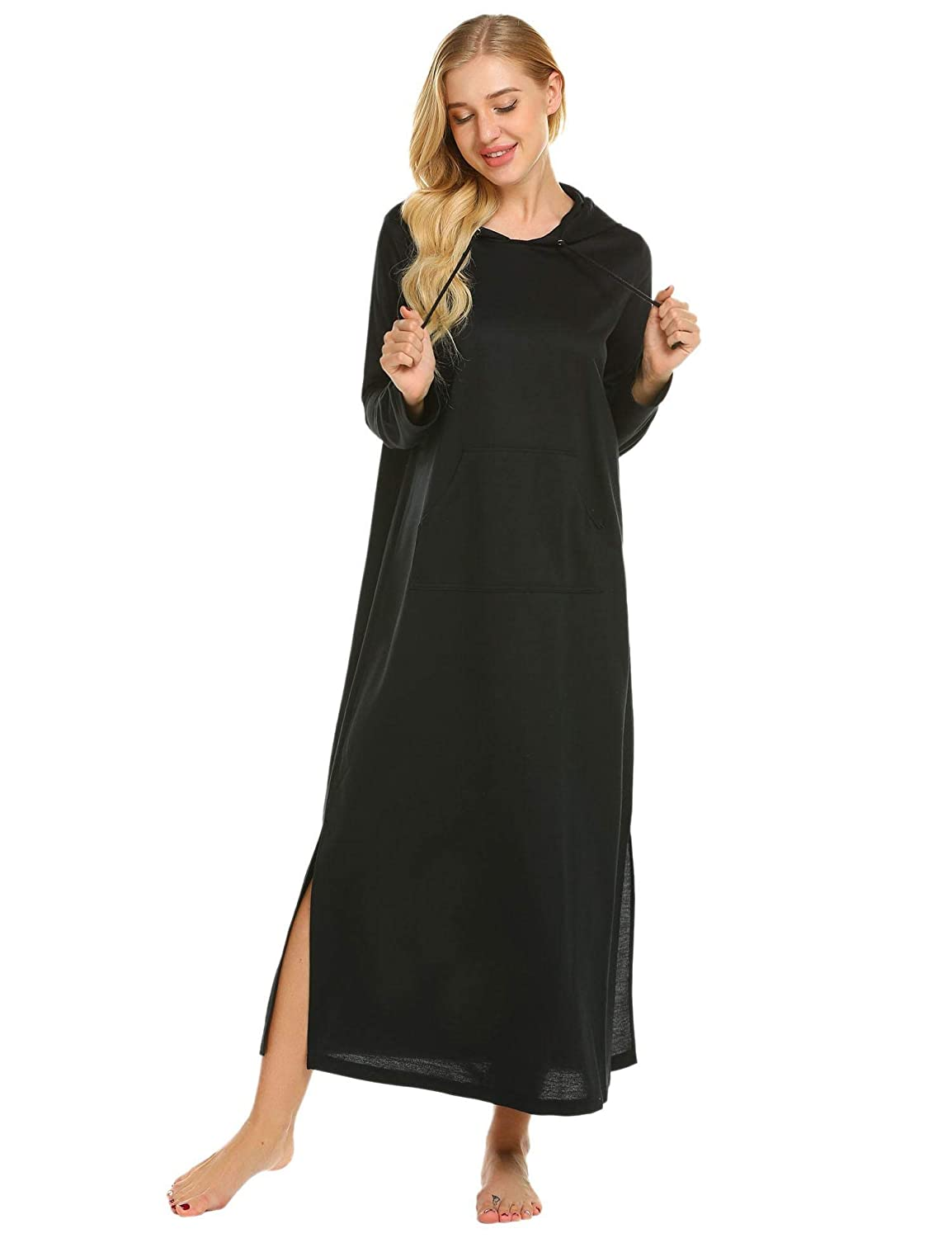 b50b4dc955 Goldenfox Hooded Sleepwear Robe Women Long Sleeve Full Length Nightgowns  Pocket S-XXL at Amazon Women's Clothing store: