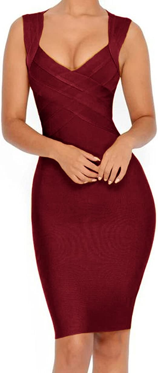 Women's V-Neck Strapless Clubwear Bodycon Bandage Dress