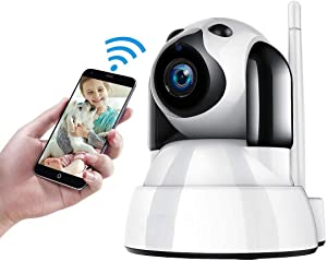Pet Camera Dog Camera, Camera to Watch Dog at Home, with Phone App 1080P FHD Indoor Camera Pet Monitor Night Vision 2 Way Audio Motion Detection (White)