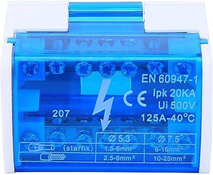 Distribución de energía Conector de la caja de pandillas Terminal del riel DIN, Caja de distribución