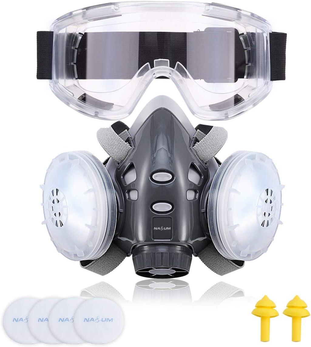 Máscara Respiratoria NASUM, Máscara Antipolvo, Fácil de Respirar, Reutilizable, con Tapones para los Oídos, Gafas y 4 Filtros para Protección Contra el Polvo, Pulido