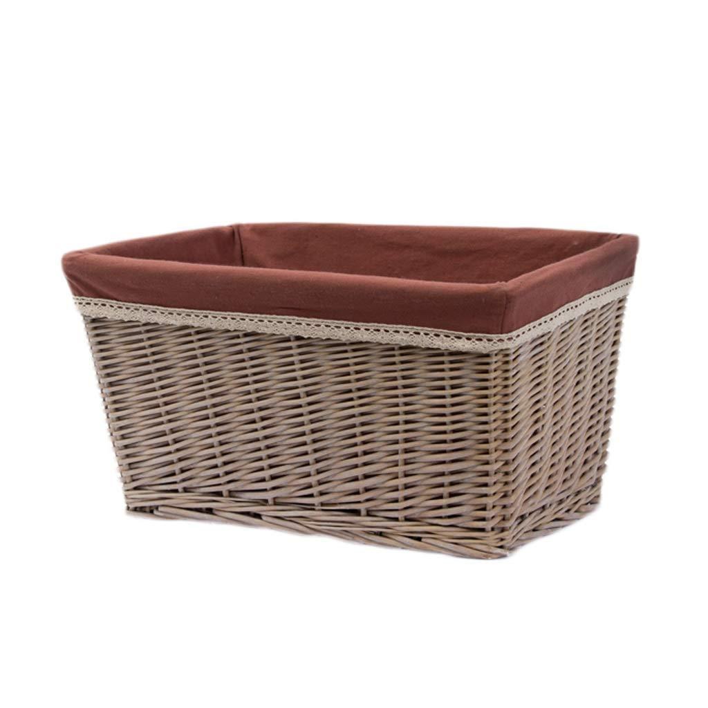 Home DecorAddition Diaper Toy Hamper Laundry Basket Portable Rattan Dirty Hamper Cotton Burlap Lining Storage Basket, 42 32 23cm (Color : B) (Color : A)