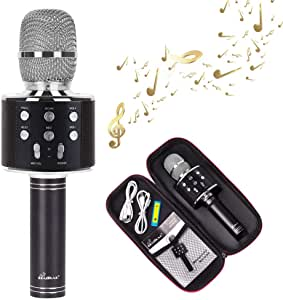 Wireless Karaoke Microphone Portable Bluetooth Microphone Music Equipment Speaker Compatible with Android & iOS (Black)