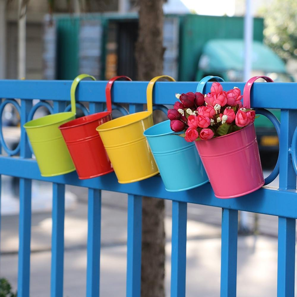 Topeakmart 10 Pack Metal Iron Flower Pot Vase Wall Fence Hanging Balcony Garden Patio Planter Home Decor