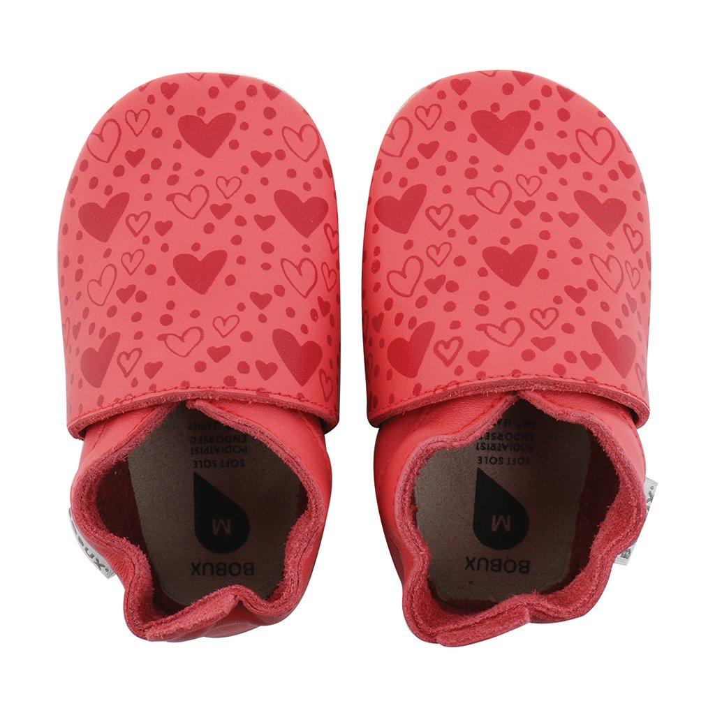 XL Rouge Coral Avec Coeurs Bobux Soft Soles
