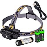 Fenix HL60R 950 Lumen USB rechargeable CREE XM-L2 T6 LED Headlamp, Fenix 18650 rechargeable Li-ion battery with 2 X EdisonBright CR123A back-up batteries bundle