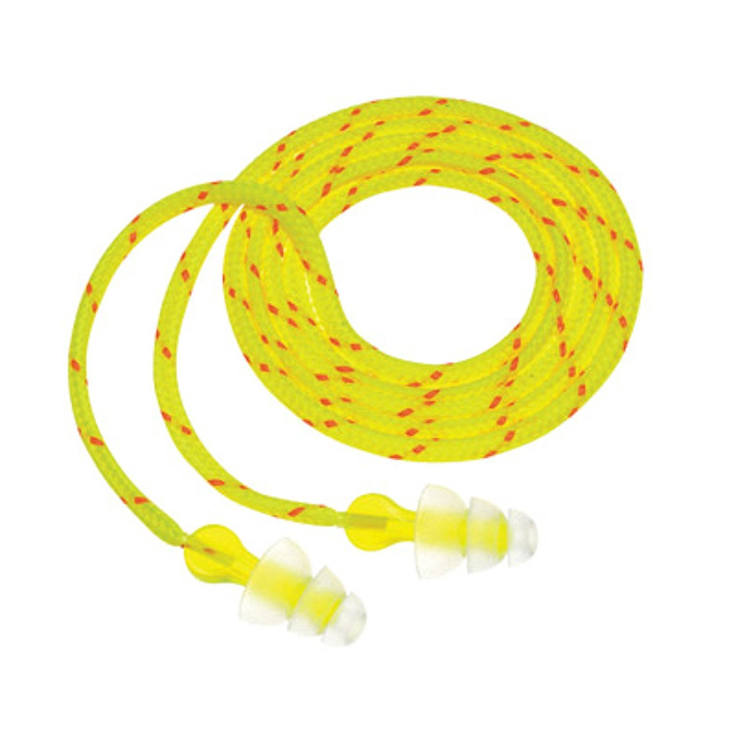 3M P3001 Multiple Use Peltor NEXT Tri-Flange Triple-Flange Elastomeric Polymer Corded Earplugs With Cloth Cord And LiveWire Stem (100 Pair Per Box) (100/PR)