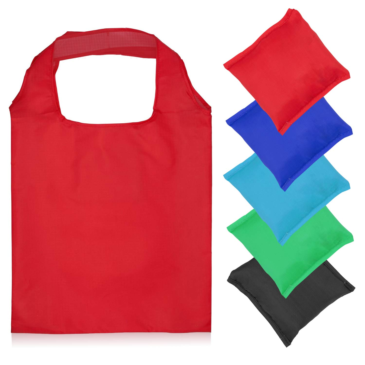 Reusable Grocery Bags – Set of 5 Washable, Foldable Shopping Bags with Attached Pouch – Nylon Cloth Groceries Totes, (Red, Green, Royal Blue, Aqua, Black)