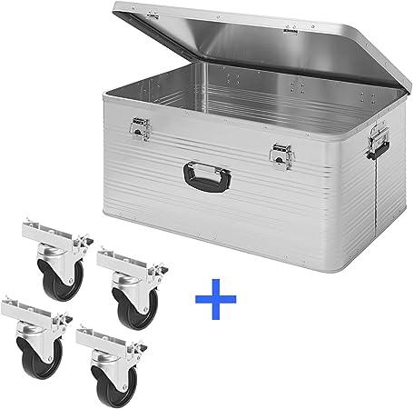 APT Caja de Aluminio 137L, Caja de Transporte de Aluminio, Caja de Herramientas, Caja de Aluminio, maletín de Metal, INKL. 4 Transportrollen: Amazon.es: Hogar